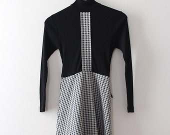 vintage 1960s dress // 60s black and white turtle neck dress