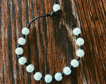 String of Pearls Leather Bracelet