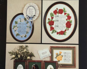 Vintage 1980's Dale Burdett Cross stitch chart - Love and Roses