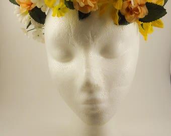 Yellow & Peach Flower Crown
