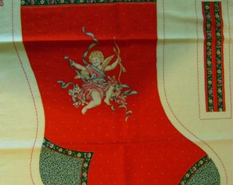 """Vintage 1980's Red Christmas 20"""" Stocking Cut and Sew Craft"""
