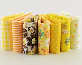 Yellow Themed 100% Cotton Jelly Roll Fabric Strips