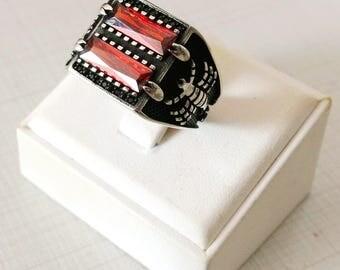 Handmade Red  Zircon Stone Scorpion 925 Sterling Silver Men's Ring #784