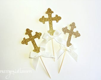 baptism cupcake topper, first communion cupcake topper, christening cupcake toppers, gold cross cupcake toppers, gold communion decoration