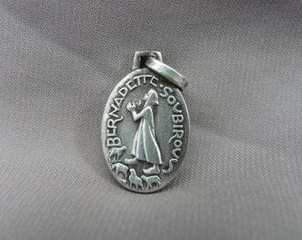 PY Saint Bernadette Soubirous - Mary Immaculate Conception Pendant - French Art Deco Religious Lourdes Medal PY by Fernand