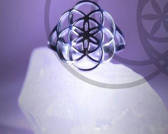 Stainless steel flower of life ring mandala sacred geometry hippy boheme healing meditation