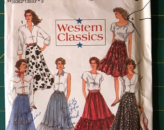 Simplicity 8193 Misses Western Skirts Pattern 1992 Sizes 6, 8, 10