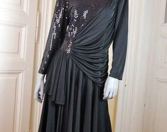 European Vintage Black Sequin Evening Dress, 1980s Black Midi Dress, Goddess Folds Elegant Black Dress, Party Dress: Size 8 (US), 12 (UK)
