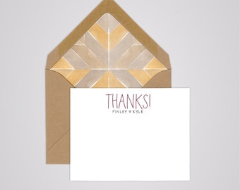Couples Thanks! Notecards - Handwritten Personalized Stationery - Couples Stationery - Thank You Cards - Wedding Sets of 10