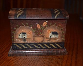 Primitive Decorative Box, Rustic, Primitive acorn, Wooden box, Folk Art, Tole