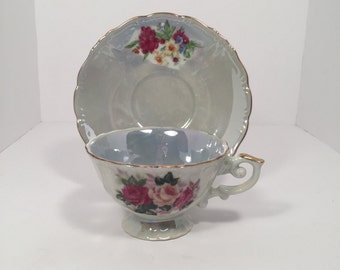 Blue Pearl Teacup and Saucer