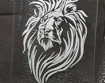 Lions Head - Glass Etching