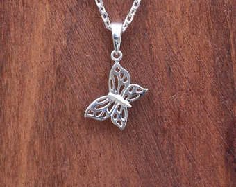 Butterfly Necklace, Sterling Silver Butterfly Pendant, Silver Necklace, Butterfly Jewellery, Silver Butterfly, Silver Pendant, JP0026
