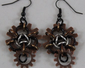 Steampunk Chain Maille Earrings