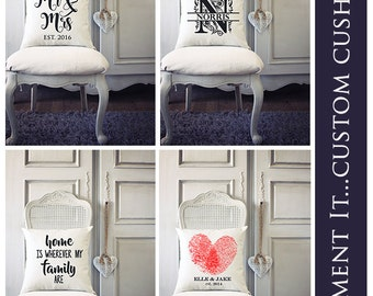 Custom Personalised Cushion | Covers | Weddings | Family
