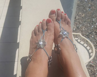 Beaded Sandals, Barefoot Sandals, Flower Sandals, Foot Jewelry, Turquoise, Blue, Silver, READY TO SHIP