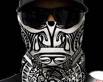 Polynesian Tribal Black & White Multi Purpose Face Shield Balaclava Bandana Neck Gaiter Sun Mask Neckerchief