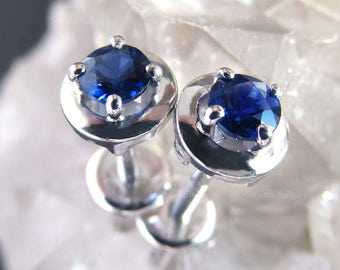 Stud Silver Natural Blue Saphire Small Earrings, Fine Jewelry