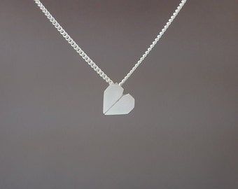 Sterling silver origami heart necklace - Origami heart necklace - Heart pendant