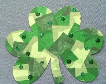 St. Patrick's Day Tissue Paper Mosaic Shamrock DIY Kids Craft Kit
