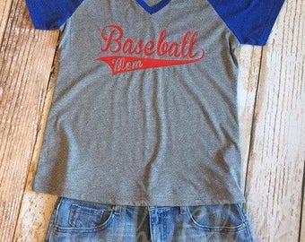 Baseball Mom T-shirt, Blue/Gray Shirt, Baseball Shirt