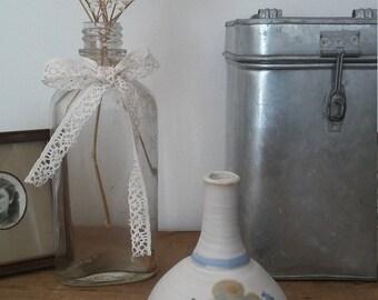Vintage vase, ceramic vase, flower vase, pottery vase, shabby chic, farmhouse decor, bohemian decor