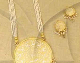 Handmade Single  Large Thewa Necklace and Earrings Set