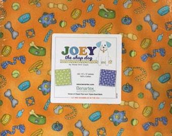 "Joey The Shop Dog 10"" Squares/Layer Cake By Rose Ann Cook/ Benartex - 42, 10"" x 10"" Precut Fabric Squares"