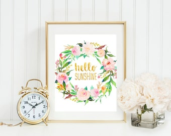 Hello sunshine print, floral wall art, watercolor flowers, typography quote, floral quote print, printable wall art, nursery art, home decor
