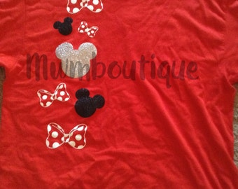 Mickey heads and Minnie bows shirt