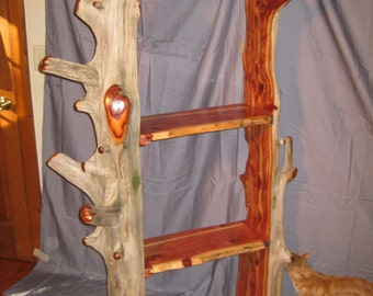 Rustic Cedar driftwood shelves, hall tree