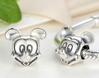 Authentic Sterling silver mickey mouse charm beads perfect fit for pandora and troll or european bracelets
