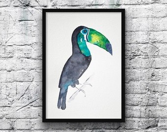 Toucan bird painting-bird painting-watercolor-original watercolor-zen style-blue and green-art