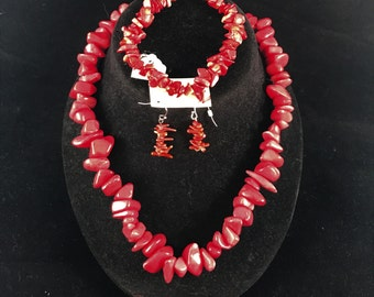 Fun Red Stone Statement Necklace, Bracelet & Earring Set
