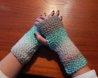 Colorful Coral Aqua Fingerless gloves hand warmers Knit mitts gift knitted mittens