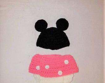 Minnie Mouse Diaper Cover & Hat