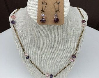 Purple and Pink Beaded Necklace with Earrings, Long Necklace, Multicolor Necklace and Earring Set, Handmade Jewelry, Pink Purple Necklace