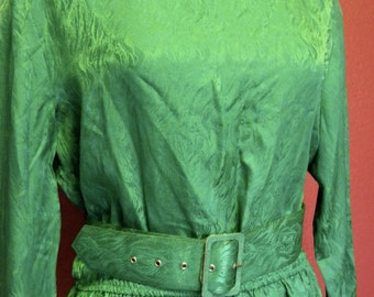 Vintage *Plus Size* Silk Green Blouse/Skirt 3pc Set