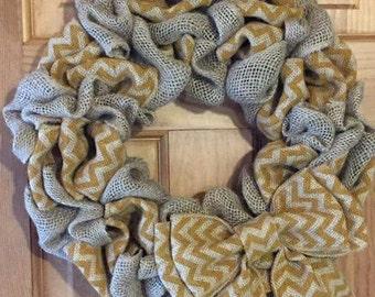 Country Mustard Chevron Wreath