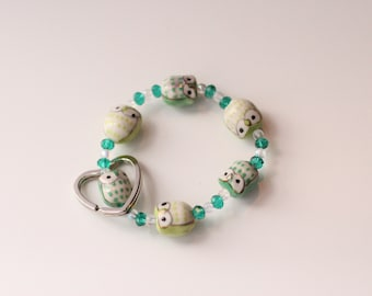 Owl Be Seeing You Keychain Bracelet (Green & Turquoise)