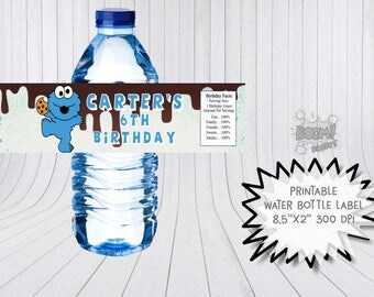 Cookie monster water bottle label, Printable bottle labels, Cookie monster  birthday, Sesame Street water bottle labels, Sesame street