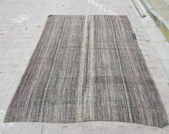 6x8 Ft Vintage dark gray decorative Turkish goat hair kilim rug