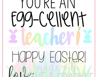 Eggcellent tag etsy easter tags for teachers teacher easter gift tags easter printable tags egg negle Choice Image