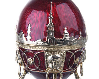 Russian Faberge Style Egg / Trinket Jewel Box Embankments of St.-Petersburg with Lions 8.5cm (3.3'') red