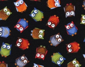 Sale 1.94 YDS--Kidz, Multi-colored Various Owls Tossed on a Solid Black Cotton Fabric from Timeless Treasures Fabrics C1105-B