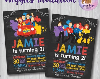 Wiggles Invitation, Wiggles Birthday Party, The Wiggles Invite, Wiggles Blackboard Invitation, Wiggles Chalkboard Invitation, Emma Wiggle