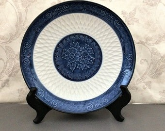 Japanese Blue and White Plate with Blue Floral Design