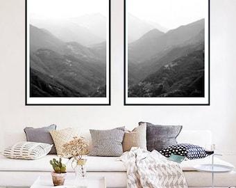 Set of 2 Swiss Alps Switzerland Mountain photo moody landscape, large wall art print, nature print black and white photo mountain printable