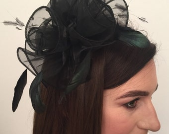 Annmarie Black Flower and Feather Fascinator on A Comb Bridal Prom Races Race Day Wedding Hair Piece Hatinator