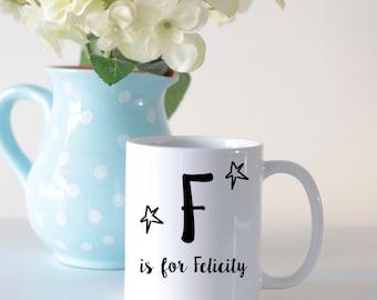 Initial name mug, personalised mug, personalised gifts, gifts for kids, mugs for kids, personalised coffee mug, mugs for mum, mothers day